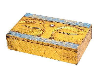 """Caixa Decorativa Gold """"Olhos de Buda"""""""