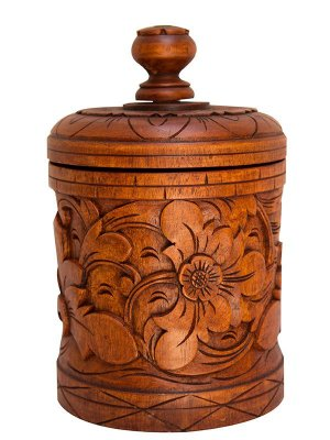 Pote Decorativo Madeira Entalhada - Bali