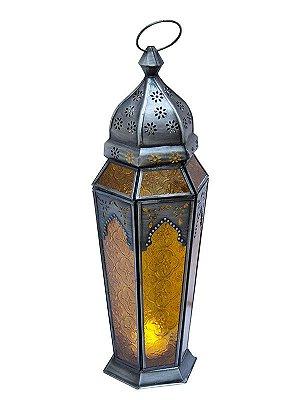 Lanterna Indiana Metal e Vidro Amarelo 43cm
