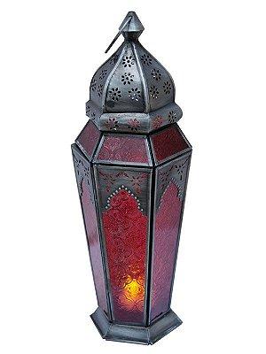 Lanterna Indiana Metal e Vidro Vermelho 43cm