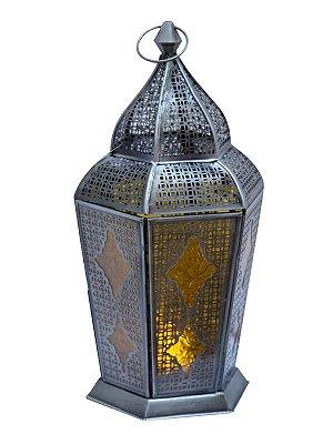 """Lanterna Indiana """"Samsara"""" Vidro Amarelo 43cm"""