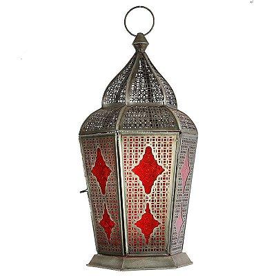 """Lanterna Indiana """"Samsara"""" Vermelha 43cm"""
