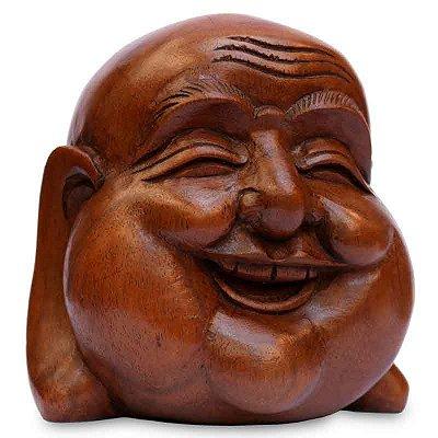 Escultura Cabeça Happy Buda - Bali