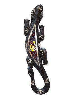 Lagarto Gecko em Madeira com Mosaico 50cm