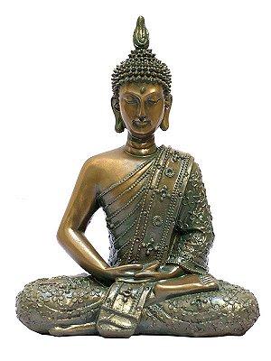 Escultura Buda Tailandês em Resina 28cm