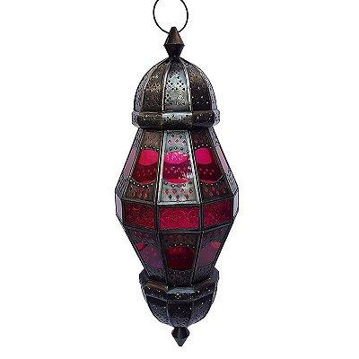 Lanterna Decorativa Kandla Rosa 58x21cm