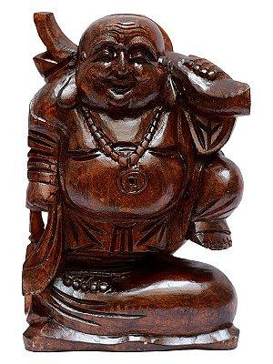 Escultura em Madeira Buda Prosperidade 30cm - Arte Bali