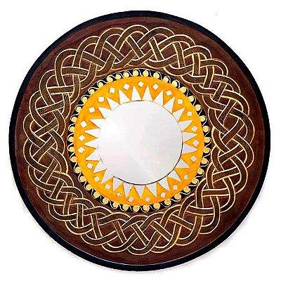 """Espelho Artesanal Redondo """"Sol Infinito"""" 60cm - Bali"""