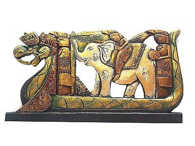 Pandil Dragão e Elefante em Madeira