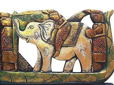 """Pandil """"Dragão e Elefante"""" em Madeira 50cm"""