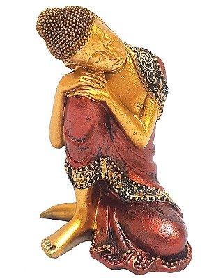 Escultura Buda Relax em Resina 09cm