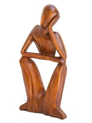 Escultura Abstrata Madeira Pensador 20cm - Arte Bali