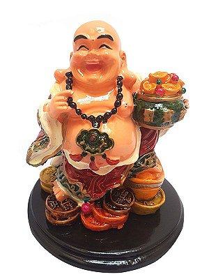 Escultura Happy Buda em Resina