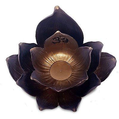 Porta Vela / Incensário Flor de Lótus Bronze