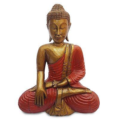 Buda Meditando em Madeira 50cm - Bali