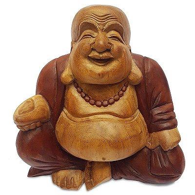 Escultura Buda Feliz em Madeira Color - Bali