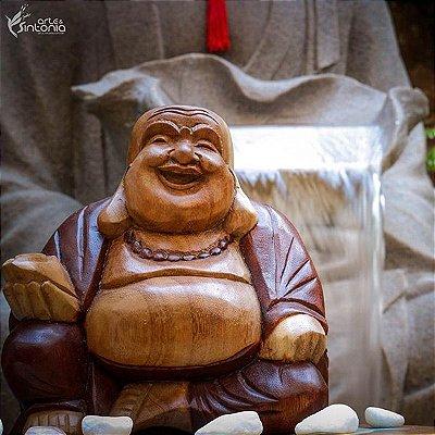 Buda Feliz em Madeira Color - Bali