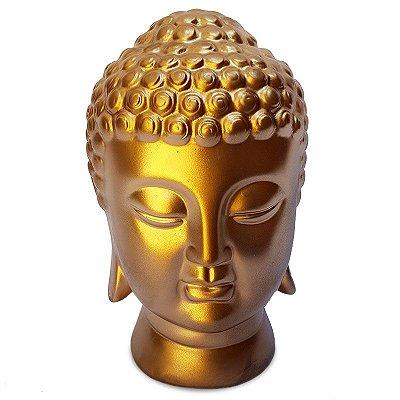 Escultura Cabeça Buda Dourada