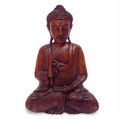 Estátua Buda em Madeira Suar 50cm - Bali