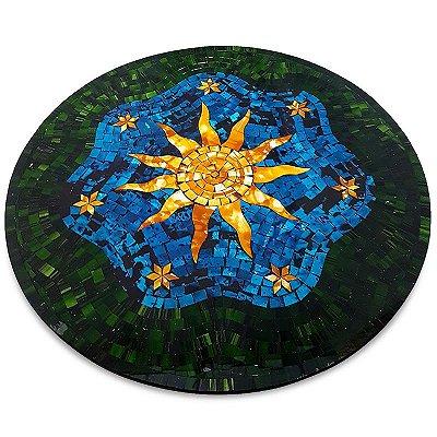 Mandala Sol em Mosaico de Vidro 60cm - Bali