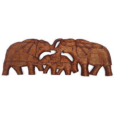 Painel Elefantes em Madeira 50cm - Bali
