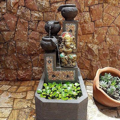 Fonte de Água Ganesh em Pedra p/ Jardim