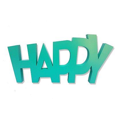 "Palavra Decorativa em Mdf ""Happy"""