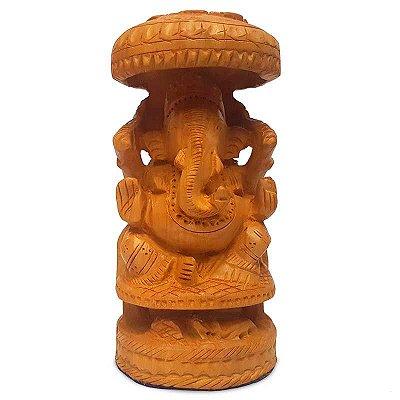 Escultura Hindu Ganesh em Madeira