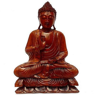 Estátua de Buda em Madeira Suar 50cm