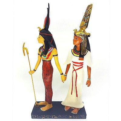Estátua Egípcia Hathor e Nefertari