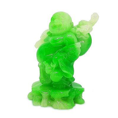 Estátua Buda Feliz Verde