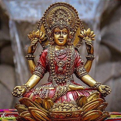 Estátua Deusa Lakshmi Flor de Lótus