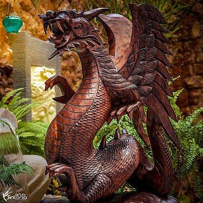 Escultura Dragão Alado 50cm