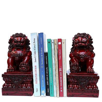 Aparador de Livros Leões Fu Budistas