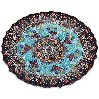 Prato Floral em Cerâmica Turca 30cm