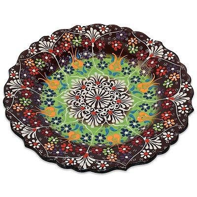 Prato Colorido Em Cerâmica Turca 25cm
