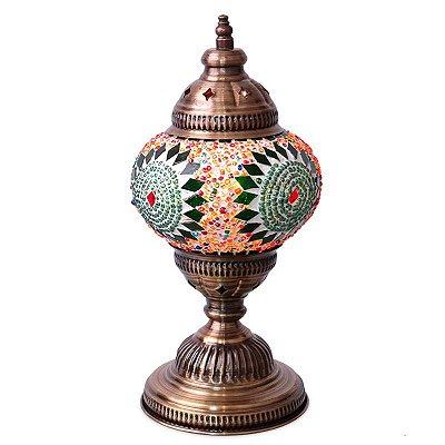 Abajur Turco Mandala Colorida 28cm