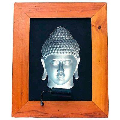 Quadro Buda 3D Prata 70cm - LED Color