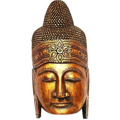 Cabeça de Buda Gold em Madeira 80cm