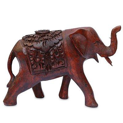 Escultura Elefante Entalhado Madeira