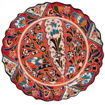 Prato Turco Mandala Floral Laranja 18cm