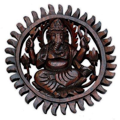 Mandala Ganesh Em Madeira Suar