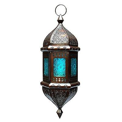 "Lanterna Indiana ""Shanti"" Azul 53cm"
