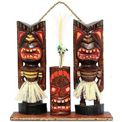 Escultura Tiki Hawaiana Porta-Objetos