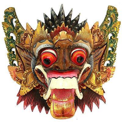 Máscara Rangda Entalhada Madeira Acácia