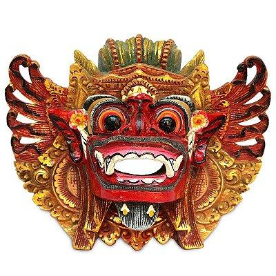 Máscara Barong Esculpida Madeira Acácia