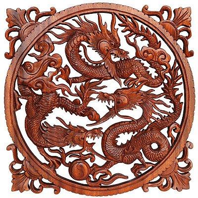 Mandala Entalhada Dragões De Bali