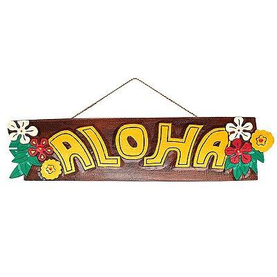 """Placa """"Aloha"""" Tiki Havaiana 100cm"""
