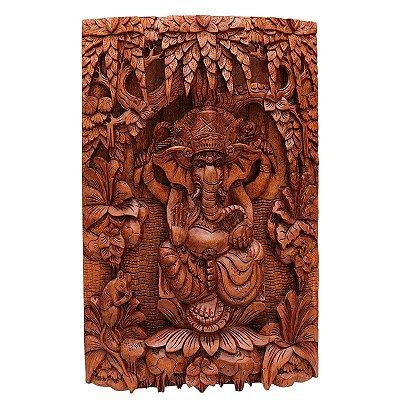 Painel Ganesh Entalhada na Madeira
