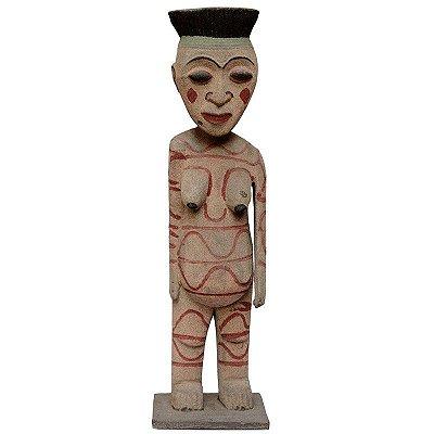 Escultura Primitivo Tribal Areia Jateada 80cm